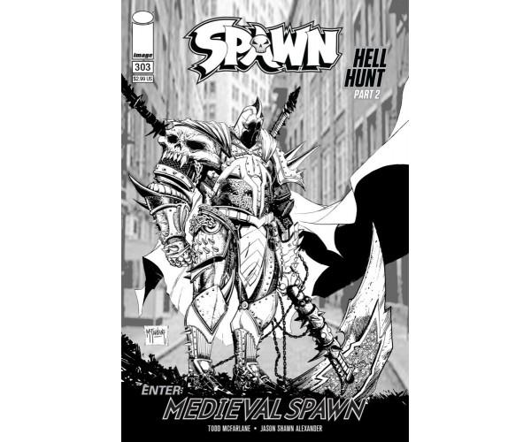 Spawn #303 Cover C Variant Todd McFarlane Black & White Edition