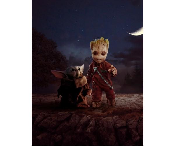 Постер Baby Yoda Vs Baby Groot